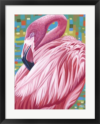 Framed Fabulous Flamingos II Print