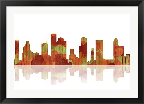 Framed Houston Texas Skyline 1 Print