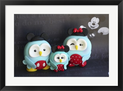 Framed Owl Family Mickey Vacation Print
