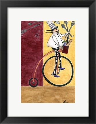 Framed French Chef Bicycle Print