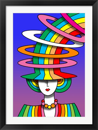 Framed Lady Rainbow Hat Print