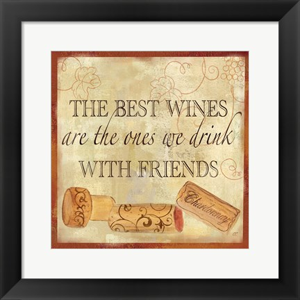 Framed Wine Cork Sentiment II Print