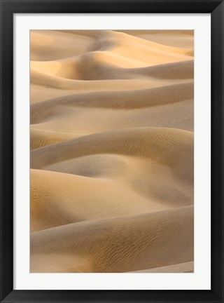 Framed Abstract of Sand Dunes at Sunset, Thar Desert, Jaisalmer, Rajasthan, India Print