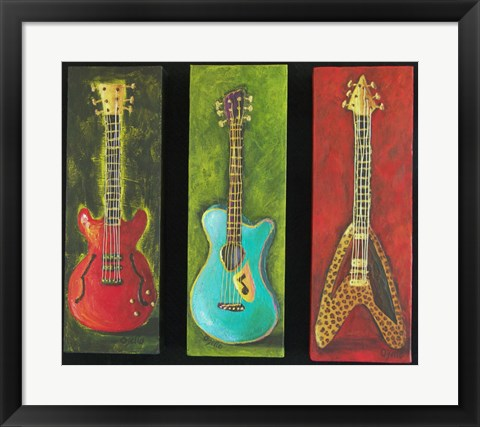 Framed Three Guitars 2 Print
