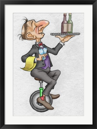 Framed Unicycle Waiter Print