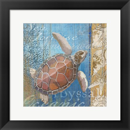 Framed Turtle and Sea Print