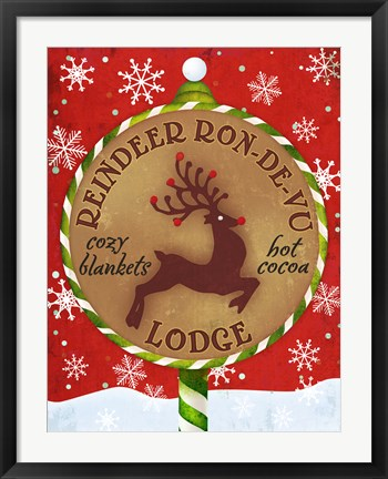 Framed Reindeer Lodge Print