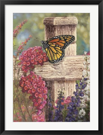 Framed Butterfly and Fence Cross Print