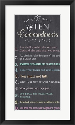 Framed Ten Commandments - Chalkboard Print