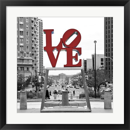 Framed LOVE (Black, White, Red) Print