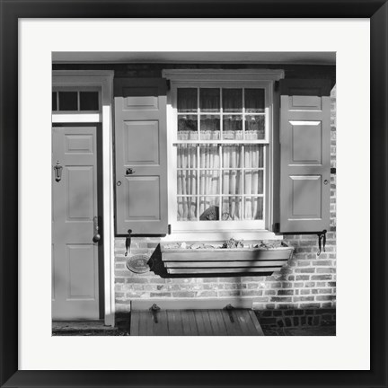 Framed Red Door, Red Shutters (b/w) Print