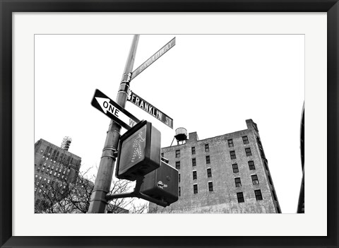 Framed West Broadway and Franklin Street (b/w) Print