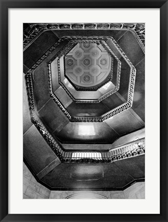 Framed City Hall Stairwell (b/w) Print
