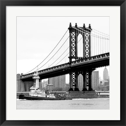 Framed Manhattan Bridge with Tug Boat (b/w) Print