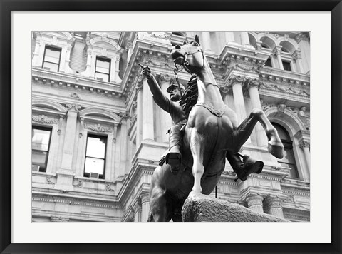 Framed Horse and Rider (b/w) Print