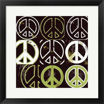 Framed Peace Mantra (Green) Print