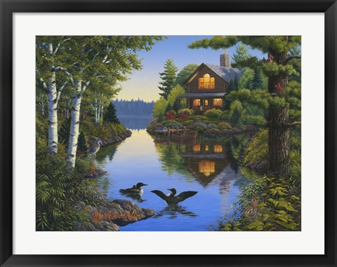 Framed Lake Cabin Print