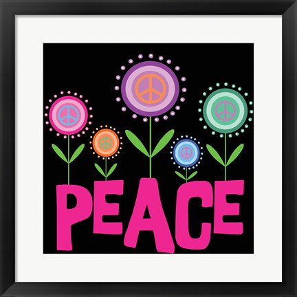 Framed Peace Flowers Print