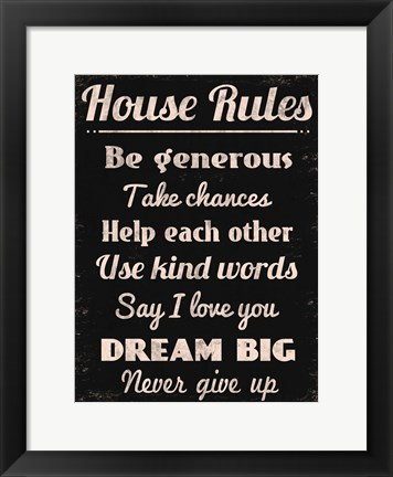 Framed House Rules 2 Print