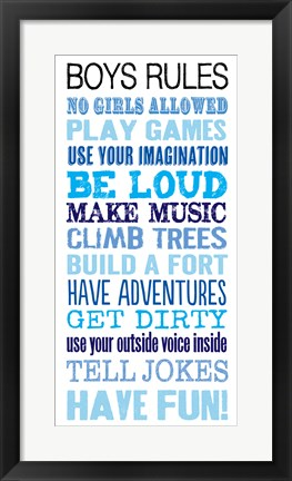 Framed Boys Rules Print