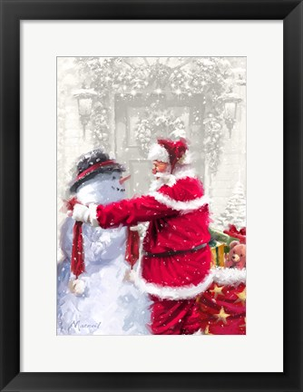 Framed Santa And Small Snowman Print