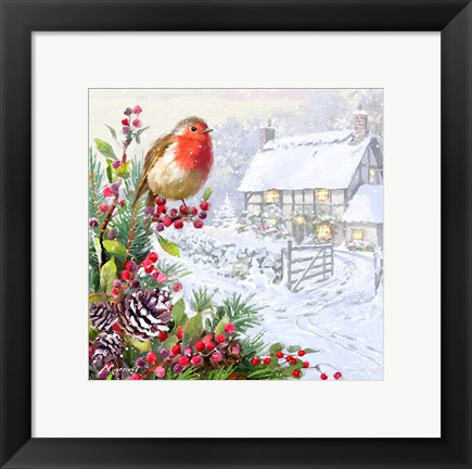 Framed Robin And Cottage Print