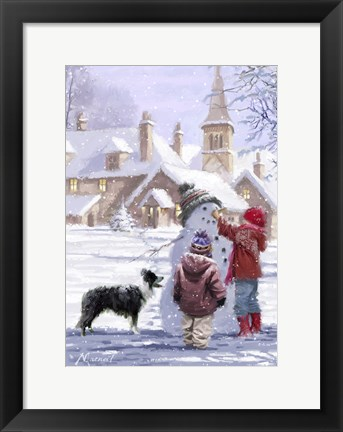 Framed Village Snowman Print