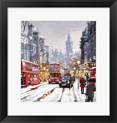 Framed Whitehall In Snow Print