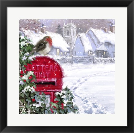 Framed Village Robin 2 Print