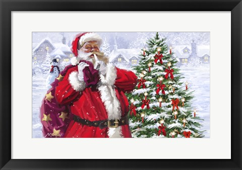 Framed Santa With Christmas Village Print