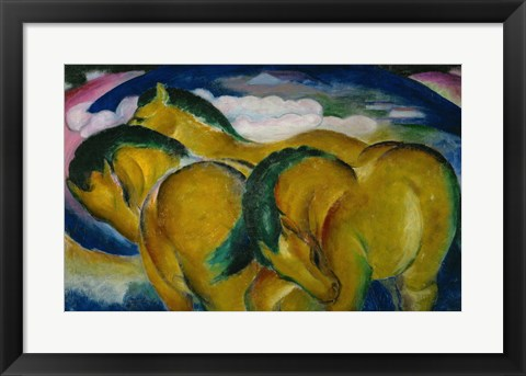 Framed Small Yellow Horses, 1912 Print