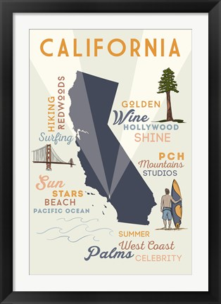 Framed California State And Text Print