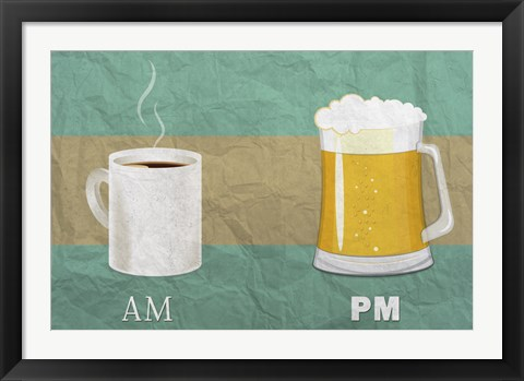 Framed AM Coffee PM Beer Print