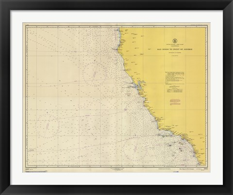Framed San Diego to Pointe St. George Map Print