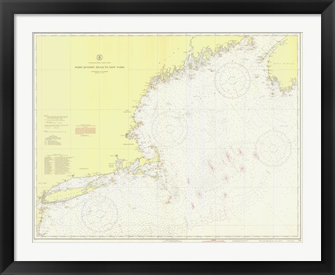 Framed West Quoddy Head to New York Map Print