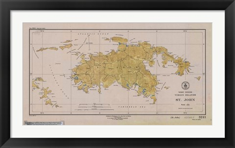 Framed Map of St. John Print