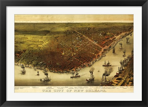 Framed New Orleans & Mississippi River Map Print