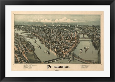 Framed Pittsburgh Map, 1902 Print