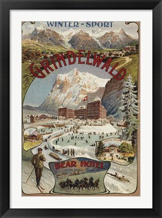 Framed Winter Sport Grindelwald Print