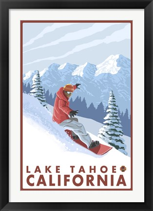 Framed Lake Tahoe Moutain Snowboard Print