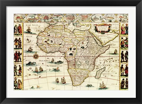 Framed Decorative Africa Map Print