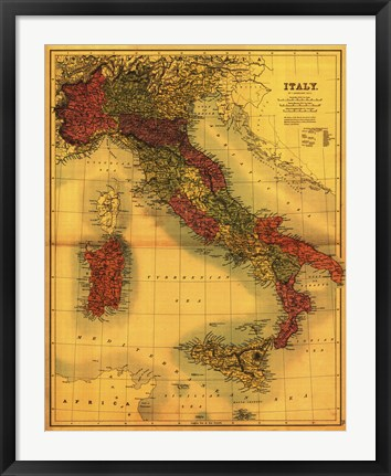 Framed Map of Italy Print