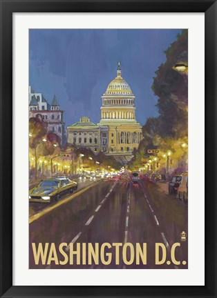 Framed Washington DC Capitol Building Ad Print