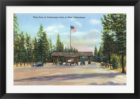 Framed Yellowstone Park West Gate Print