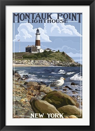 Framed Montauk Point Lighthouse New York Print