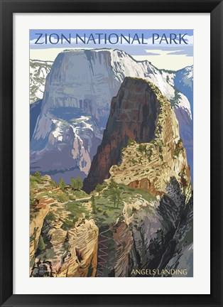 Framed Zion National Park Angels Landing Print