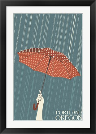Framed Portland Oregon Umbrella In Rain Print