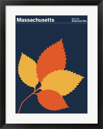 Framed Montague State Posters - Massachusetts Print