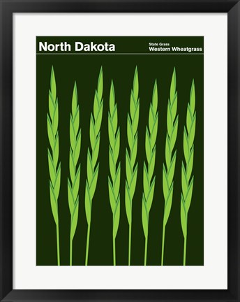 Framed Montague State Posters - North Dakota Print