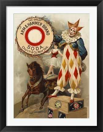 Framed Clown, Horse, Acrobat and Arm & Hammer Brand Soda Print